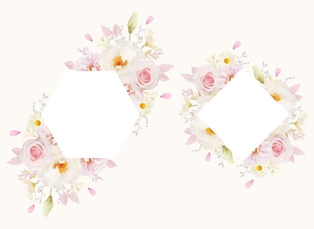 Piękna kwiecista ramka z akwarelą różowych róż dalii i białej piwonii