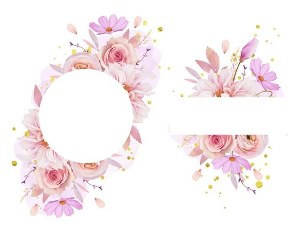 Piękna kwiecista ramka z akwarelą róży, dalii i jaskier