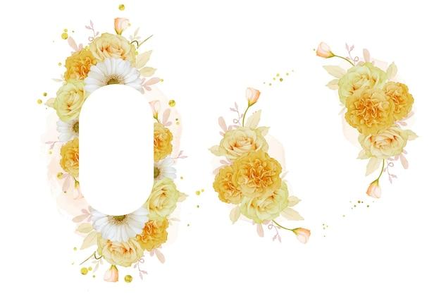 Piękna kwiecista ramka z akwarelą żółtą różą i białym kwiatem gerbery