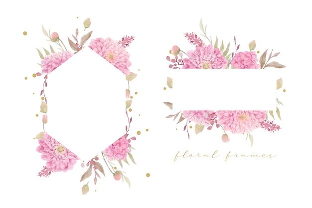 Piękna kwiecista ramka z akwarelowymi kwiatami dalii