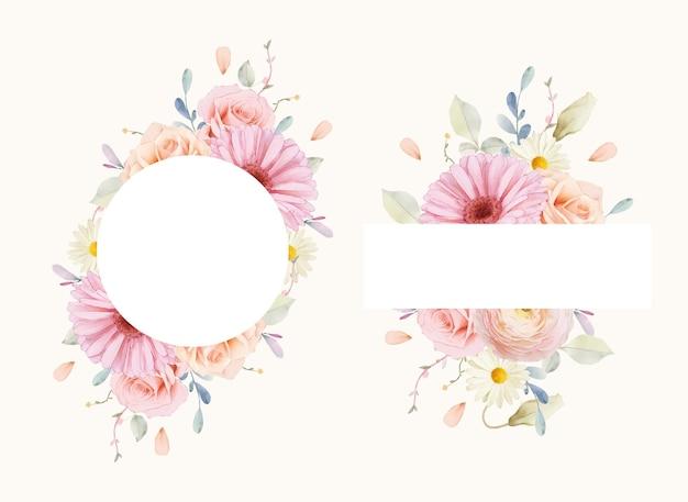 Piękna kwiecista ramka z akwarelowymi różami i gerberą