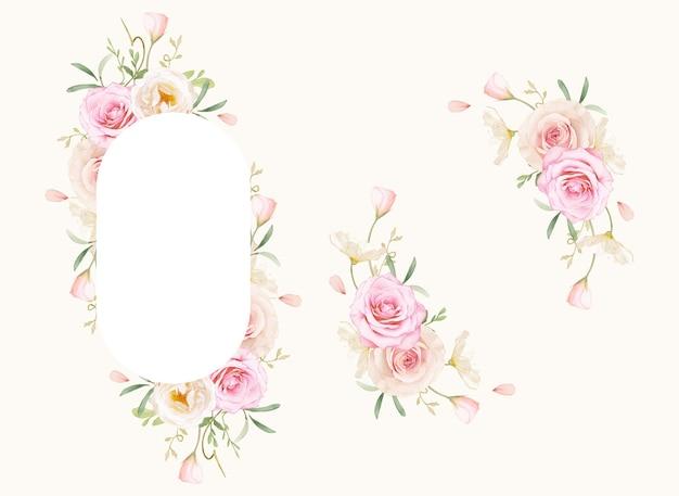 Piękna kwiecista ramka z akwarelowymi różami i jaskier