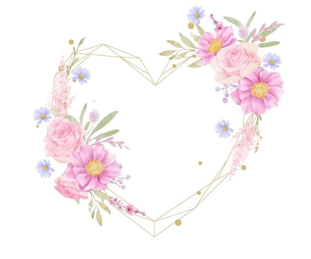 Piękna kwiecista ramka z akwarelowymi różami i kwiatami anemonu