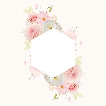Piękna kwiecista ramka z akwarelowymi różami i różową dalią