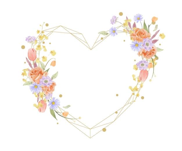 Piękna kwiecista ramka z akwarelowymi różami, tulipanami i kwiatami scabiosa