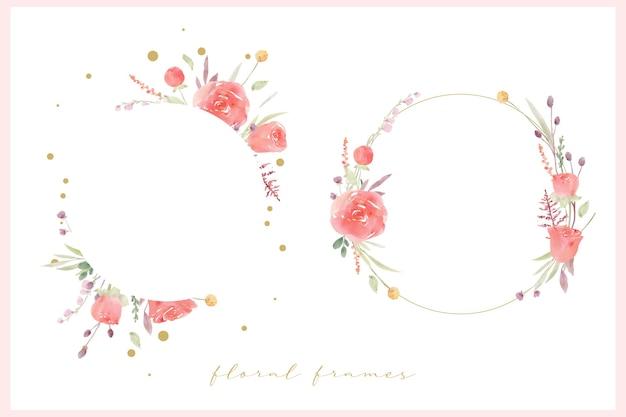 Piękna kwiecista ramka z czerwoną różą akwarela