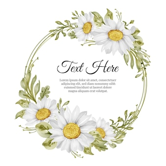 Piękna kwiecista ramka z elegancką białą stokrotką kwiatową