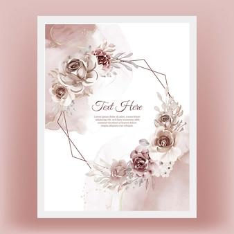 Piękna kwiecista ramka z elegancką kwiatową terakotą