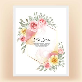 Piękna kwiecista ramka z elegancką kwiatową żółtą brzoskwinią