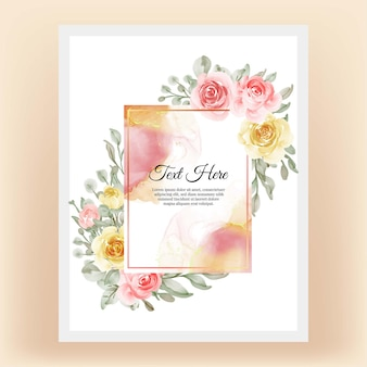 Piękna kwiecista ramka z eleganckim kwiatem brzoskwiniowo-żółtym