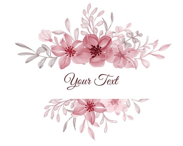 Piękna kwiecista ramka z eleganckim kwiatem czerwieni z liśćmi