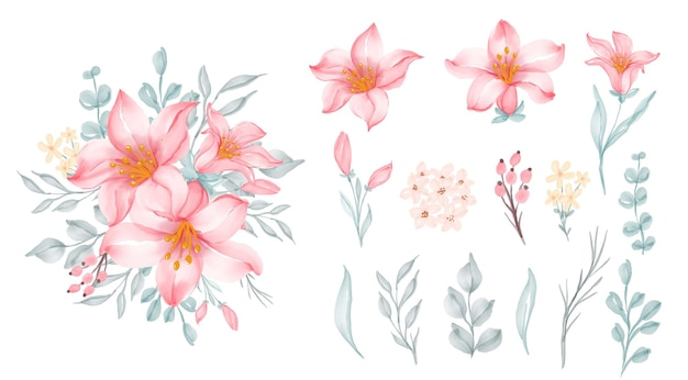 Piękna kwiecista ramka z eleganckim kwiatem lilii różowej