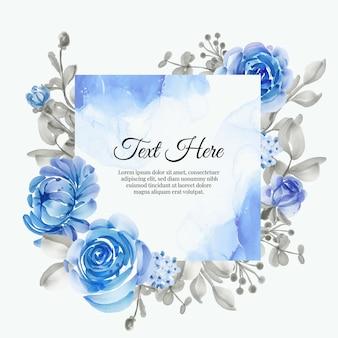 Piękna kwiecista ramka z eleganckim kwiatem w kolorze niebieskim