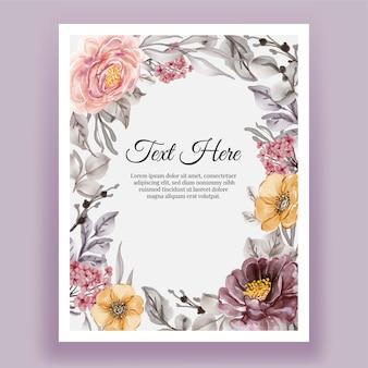 Piękna kwiecista ramka z eleganckim kwiatem