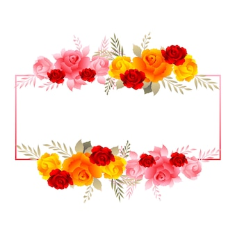 Piękna kwiecista ramka z miękkimi kolorowymi różami