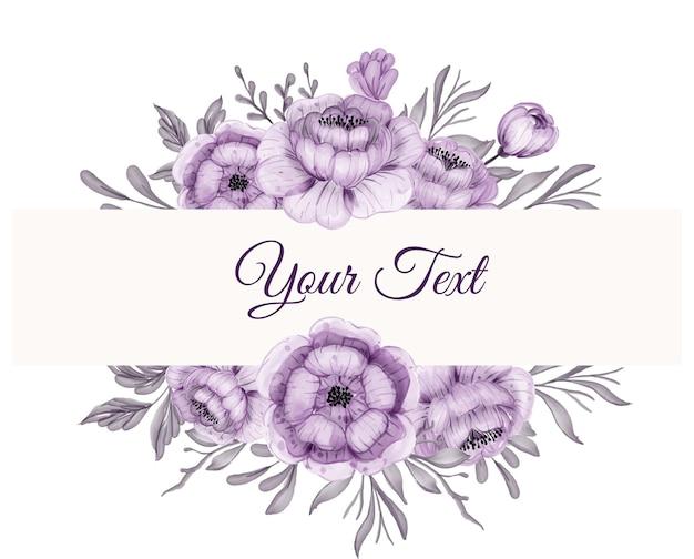 Piękna kwiecista ramka z pięknym kwiatem fioletowym z liśćmi