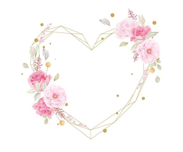 Piękna kwiecista ramka z różową różą akwarela