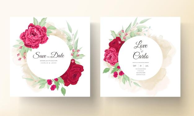 Piękna Kwitnąca Róża I Kwiat Piwonii Karta Zaproszenie Na ślub Darmowych Wektorów