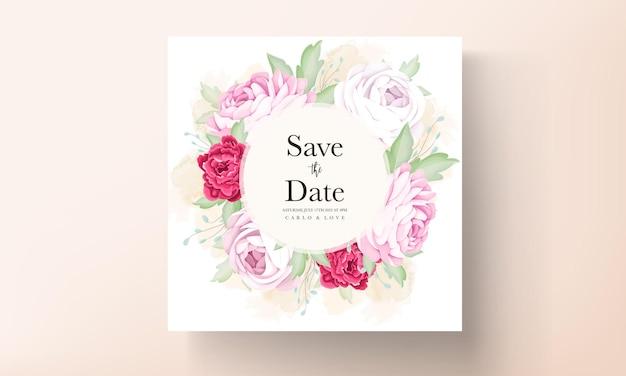 Piękna kwitnąca róża i kwiat piwonii karta zaproszenie na ślub