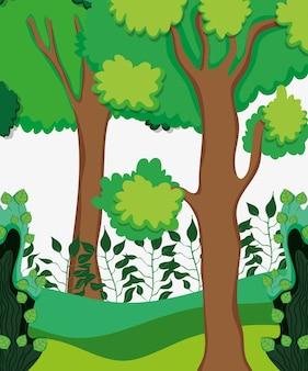 Piękna leśna sceneria kreskówka