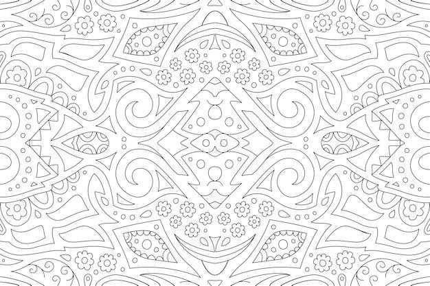 Piękna liniowa ilustracja do kolorowania książki z abstrakcyjnym czarnym wzorem ze stylizowanymi kwiatami