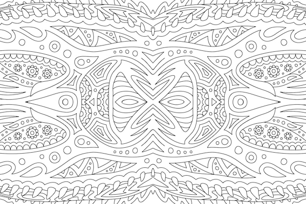 Piękna liniowa ilustracja monochromatyczna dla dorosłych kolorowanka z abstrakcją fantasy