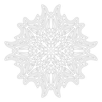 Piękna liniowa ilustracja monochromatyczna do kolorowania książki z abstrakcyjnym wzorem na białym tle