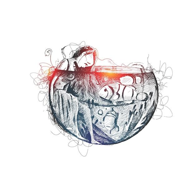 Piękna magiczna dziewczyna pod wodą z rybami ręcznie rysowane szkic ilustracji wektorowych
