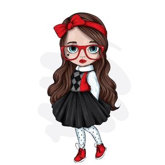 Piękna mała dziewczynka w stylowe ubrania.