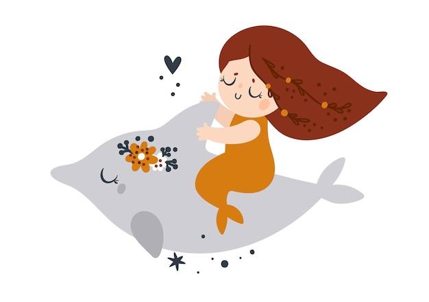 Piękna mała syrenka z długimi włosami i pomarańczowym rybim ogonem pływa z delfinem na białym tle