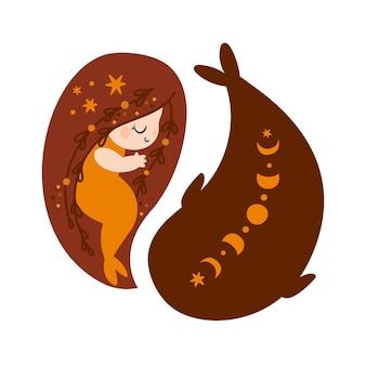 Piękna mała syrenka z długimi włosami i pomarańczowym rybim ogonem pływa z małym wielorybem w kształcie ying yang