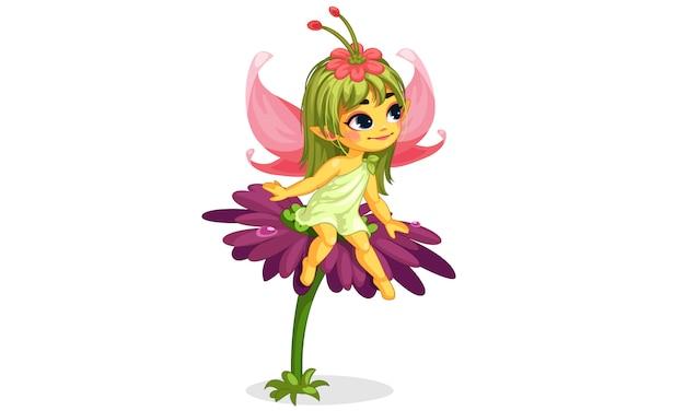 Piękna mała wróżka kwiat siedzi na kwiatku