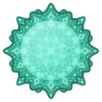 Piękna Mandala W Zielonym Stylu Wschodnim Premium Wektorów
