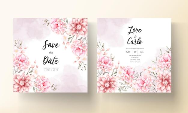 Piękna miękka brzoskwinia i brązowa karta kwiatowy akwarela ślub