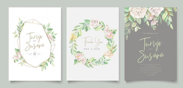 Piękna miękka karta zaproszenie na ślub kwiatowy i liści