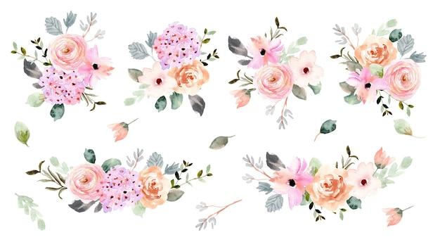 Piękna miękka kompozycja kwiatów akwarela kolekcja