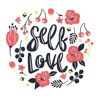 Piękna miłość siebie napis z czerwonymi kwiatami