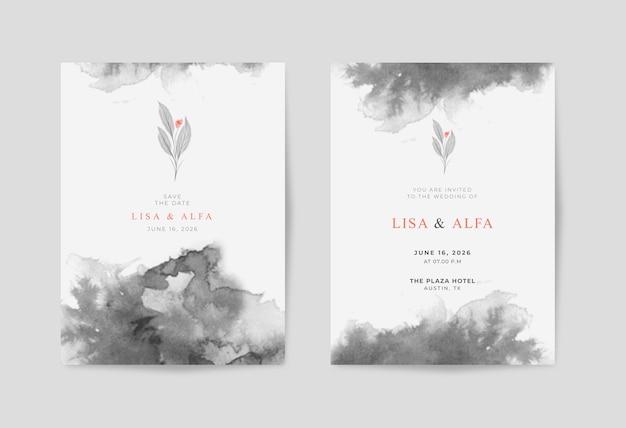 Piękna minimalistyczna czarno-biała akwarelowa kartka ślubna