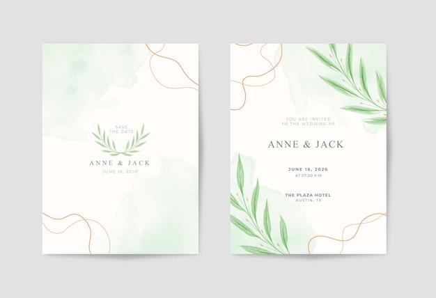Piękna minimalistyczna kartka ślubna z akwarelą eukaliptusową