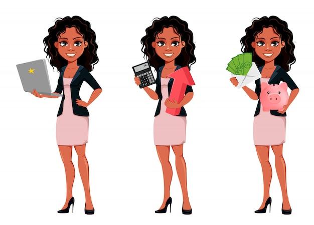 Piękna młoda amerykanin afrykańskiego pochodzenia biznesowa kobieta