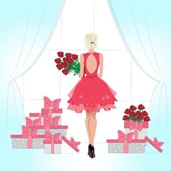 Piękna młoda blondynka stojąca przy oknie z bukietem czerwonych róż ilustracja mody