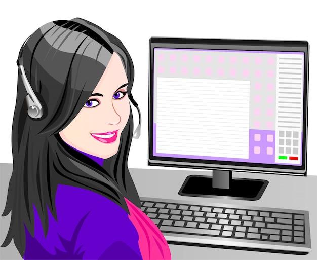 Piękna młoda dziewczyna uśmiechnięta brunetka operatora telefonicznego w słuchawkach