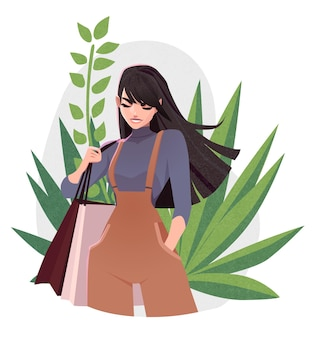 Piękna młoda dziewczyna w modne ubrania z torby na zakupy koncepcja dnia zakupów