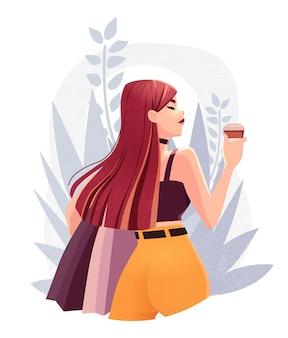 Piękna młoda dziewczyna z torby na zakupy i filiżankę kawy stylowa moda kobieta