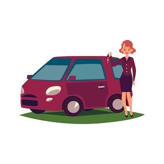 Piękna młoda kobieta kierowca z nowym samochodem