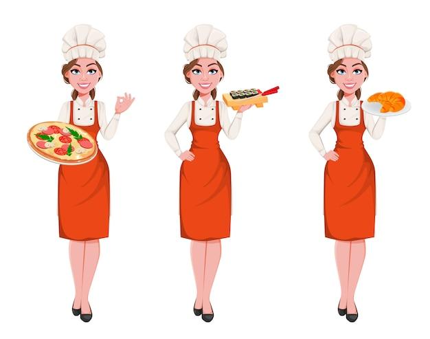 Piękna młoda kobieta kucharz, zestaw trzech pozach