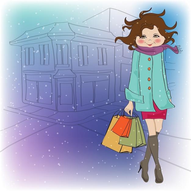Piękna młoda kobieta na zakupy