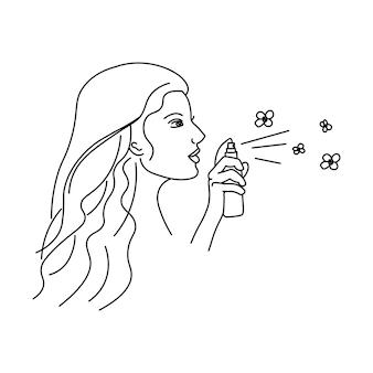 Piękna młoda kobieta rozpyla butelkę aromatycznego perfumeline dziewczyna abstrakcyjna minimalistyczna sylwetka
