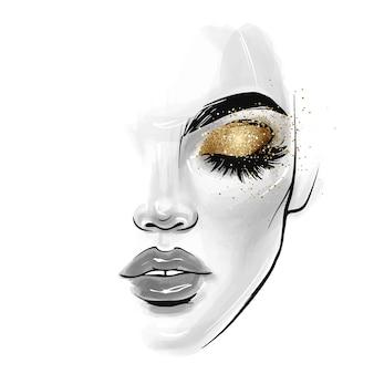 Piękna młoda kobieta twarz. szkic ilustracji mody