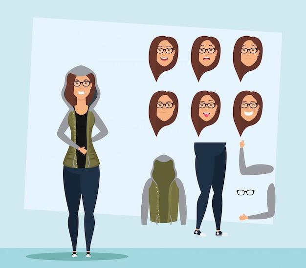 Piękna młoda kobieta w okularach zestaw twarzy charakter wektor ilustracja projektu